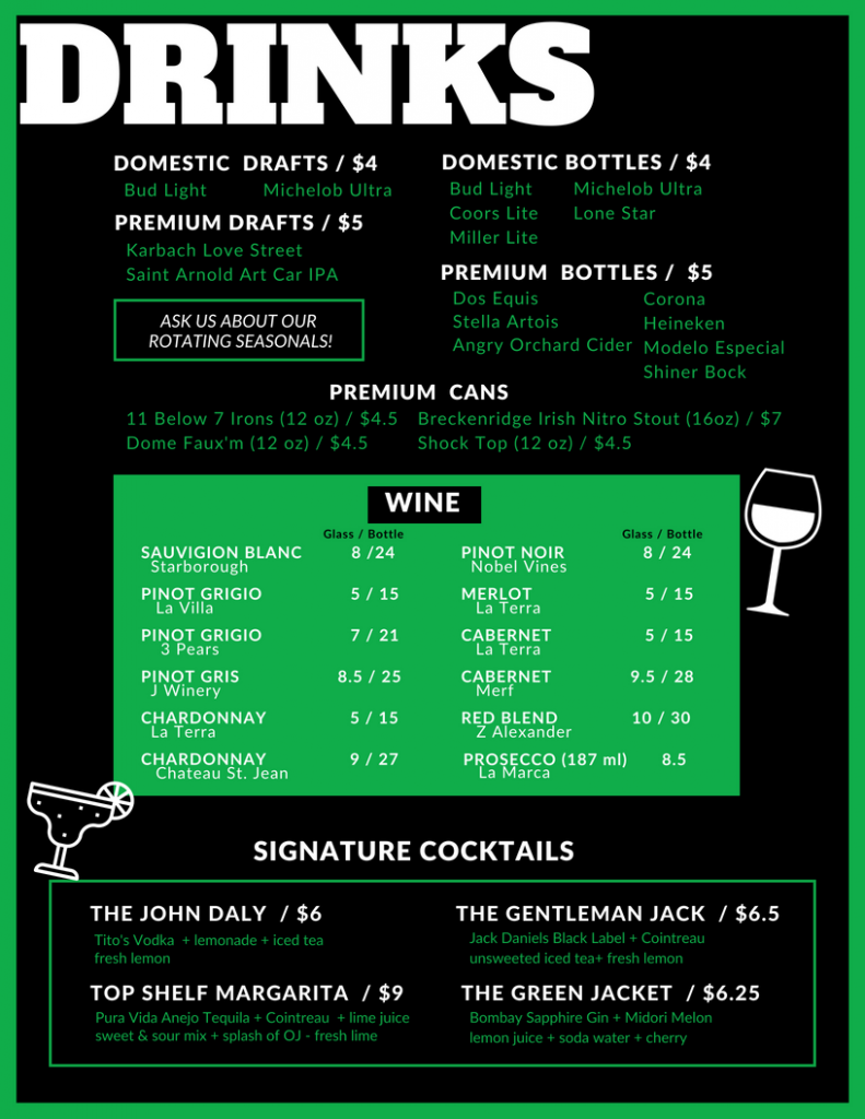 New Drink Menu | Swing Zone Golf